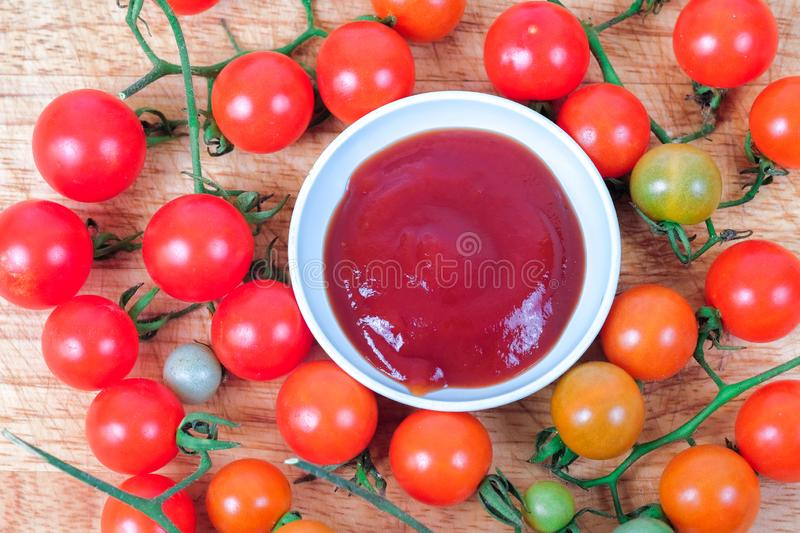 Tomato sauce with fresh Small Tomato ,food for health stock photo
