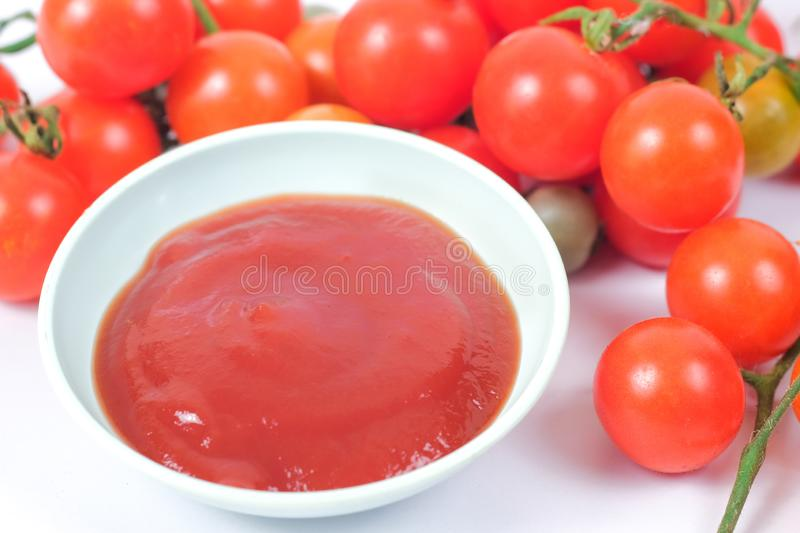 Tomato sauce with fresh Small Tomato ,food for health stock image