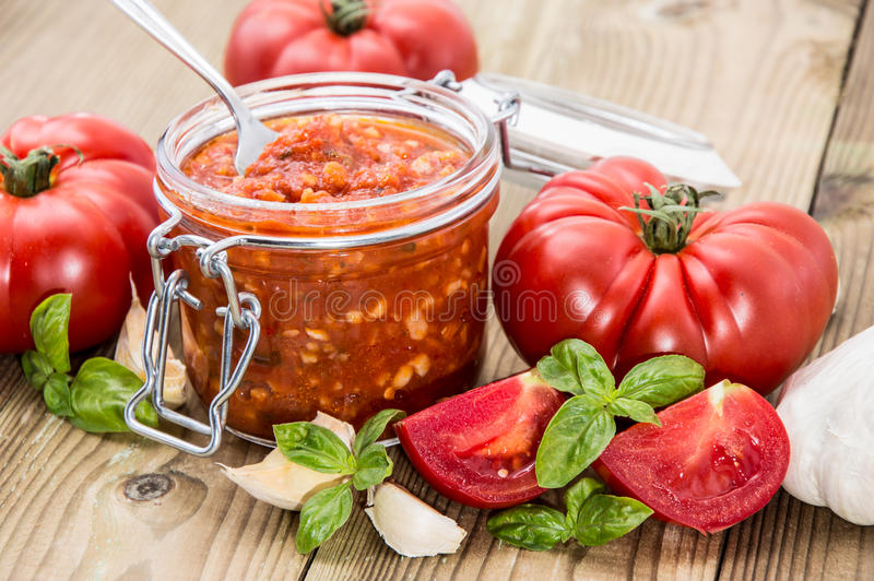 Download Tomato Sauce in a glass stock image. Image of antipasto - 26531077