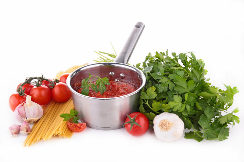Tomato sauce and ingredients. Isolated stock images
