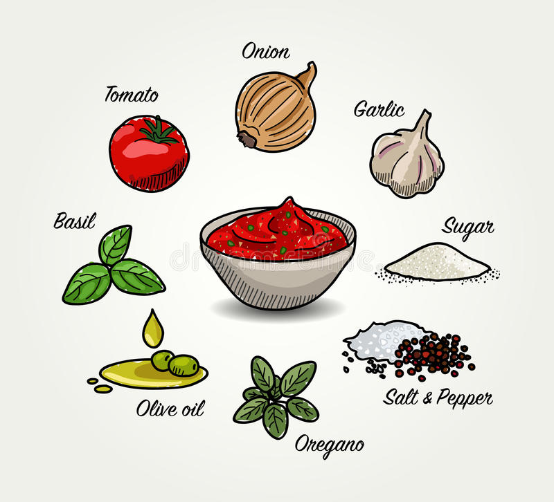 Tomato Sauce Ingredients. Vector cartoon sketched illustration of Italian Tomato Sauce for Pizza in a bowl. Around it are ingredients - tomato, onion, garlic royalty free illustration