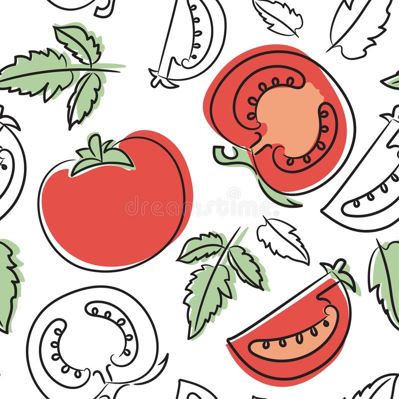 Tomato seamless pattern. Hand drawn fresh vegetables. Vector sketch background. Doodle wallpaper. Red and green print stock illustration