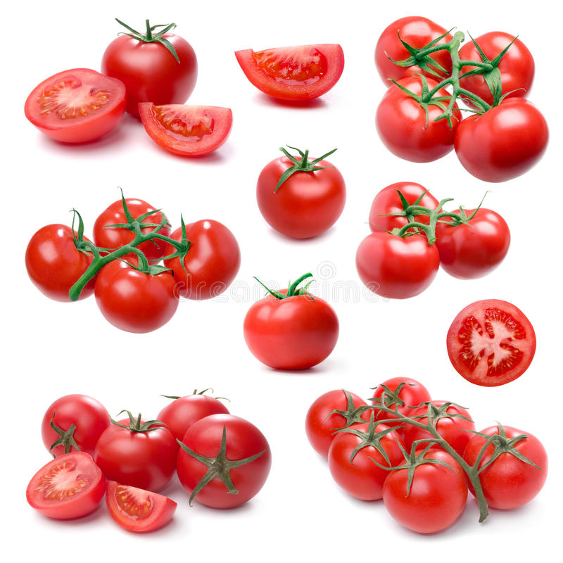 Tomato set isolated on white. stock photo