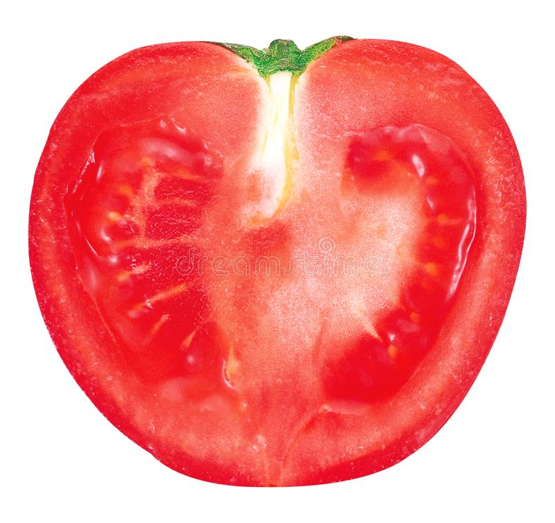 Tomato slice isolated. On white and PNG file with transparent background royalty free stock photo