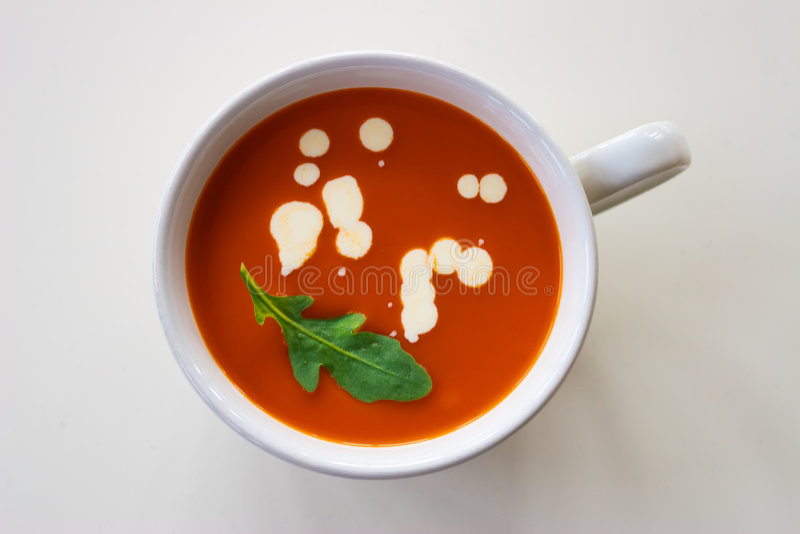 Tomato soup. A coup with tomato soup stock image