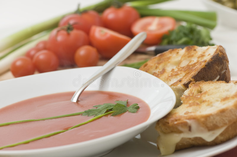 Download Tomato Soup stock image. Image of white, vegetable, parsley - 7489325