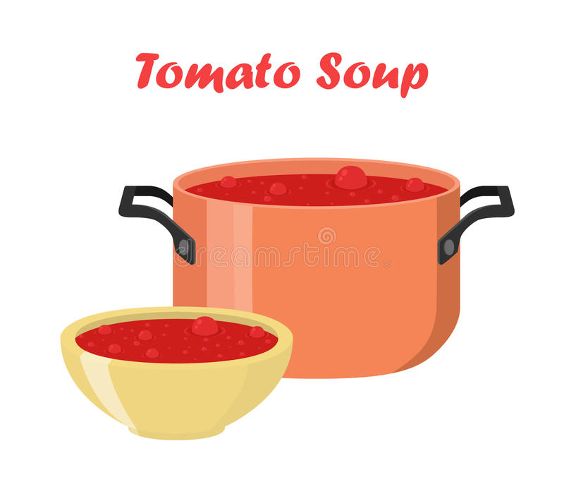 Tomato soup in bowl, dish. Hot meal with vegetables, meat. Tomato soup in bowl and dish. Hot meal with vegetables, meat. Cartoon flat style stock illustration