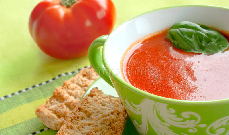 Tomato soup with crouton royalty free stock image