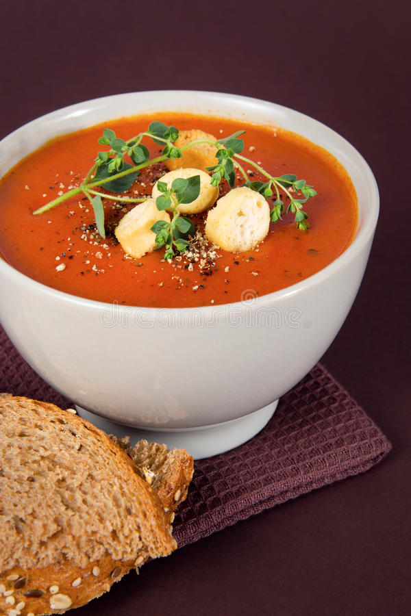 Download Tomato Soup With Croutons And Herbs Stock Image - Image: 31152047