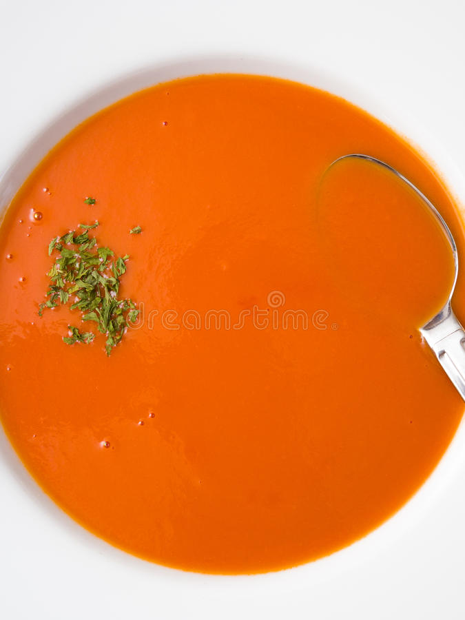 Download Tomato soup stock image. Image of vegetable, spoon, garnish - 31220467