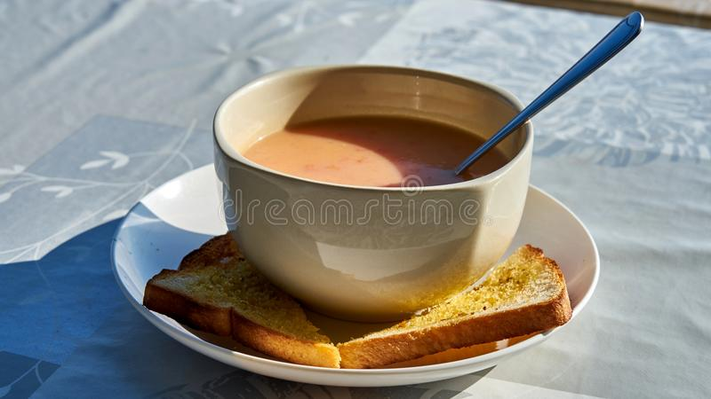Tomato soup with garlic toasts. Koh Phangan. Thailand royalty free stock image