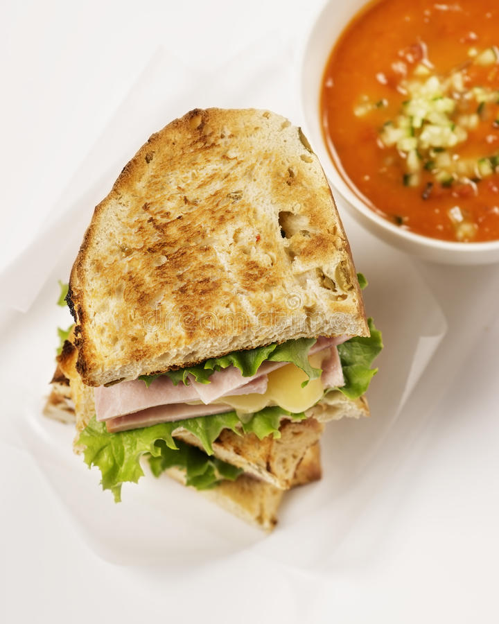 Tomato Soup and Grilled Cheese Sandwich royalty free stock photography