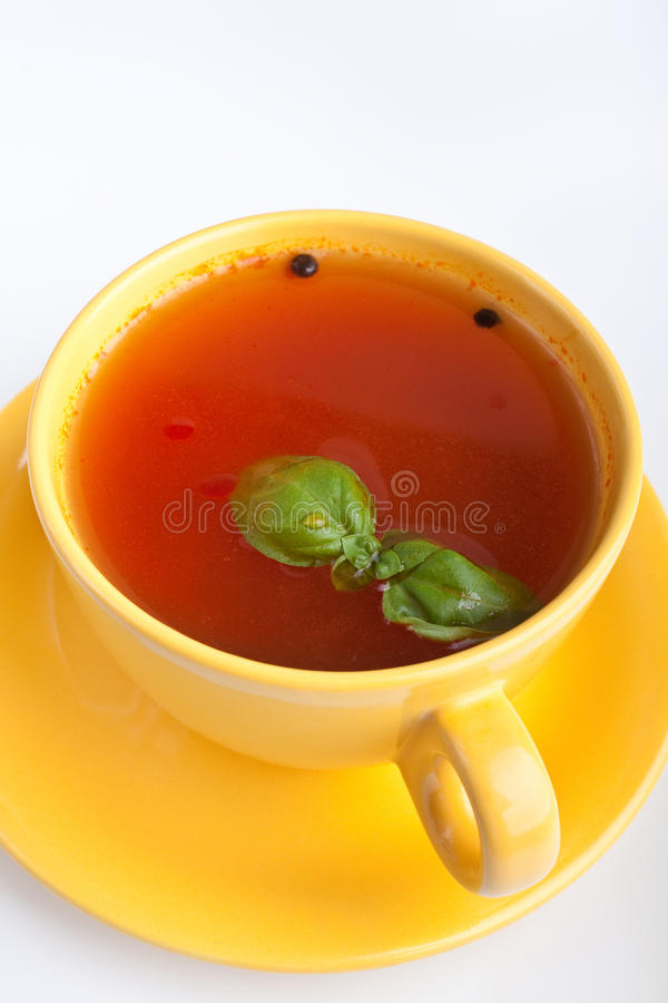 Free Tomato Soup In Yellow Cup Stock Photography - 10485092