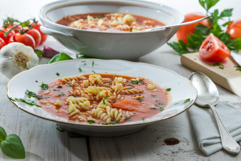 Tomato soup made of fresh vegetables stock image