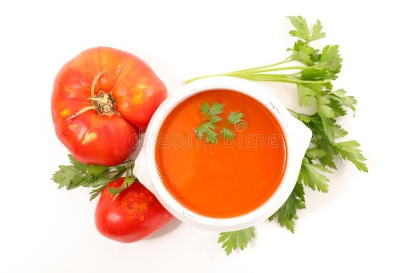 Tomato soup and parsley stock photos