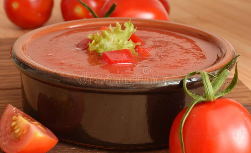 Tomato soup puree closed up. Fresh red tomato soup puree closed up royalty free stock image