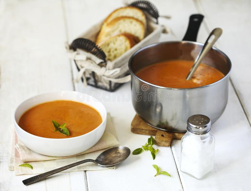 Tomato soup. Roasted vegetables soup. Served on plate royalty free stock photo
