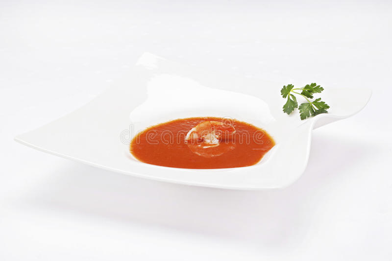Tomato soup with shrimps stock photo