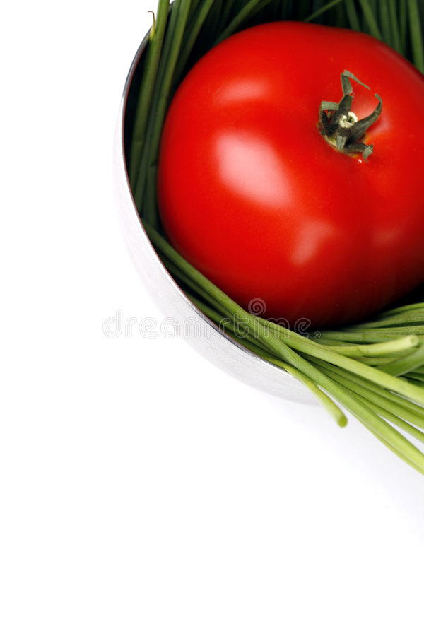Tomato and spring onion stock images