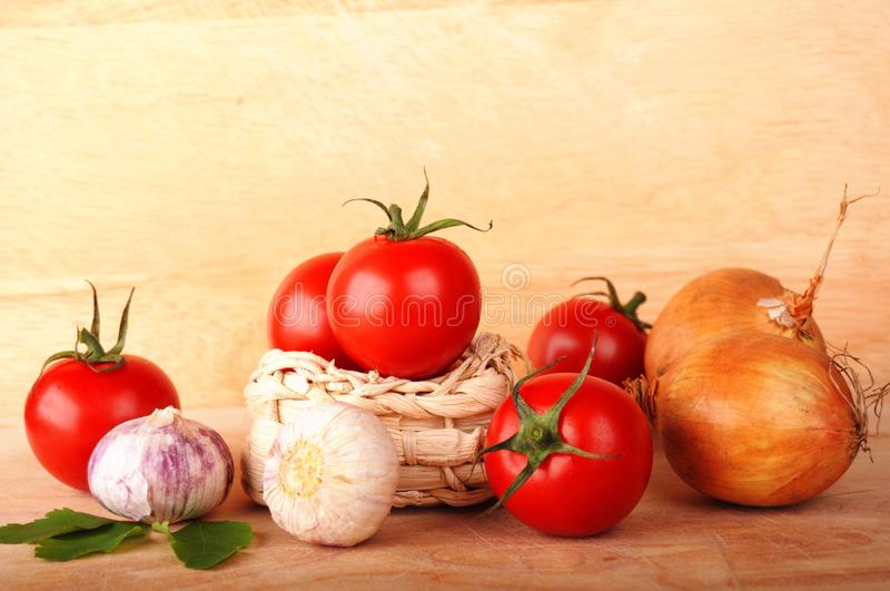 Download Tomatoes stock photo. Image of garlic, wooden, copy, tomatoes - 15705206
