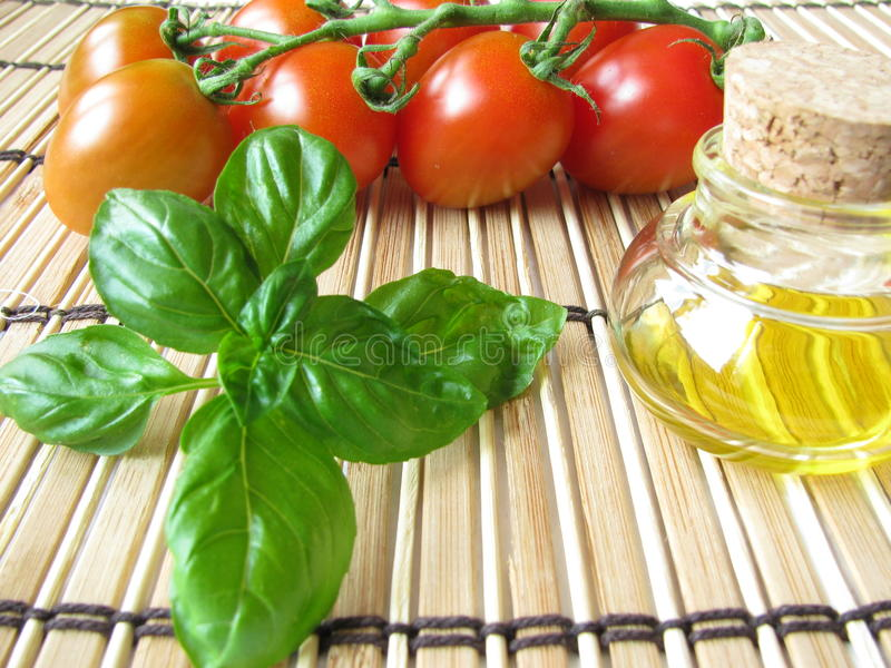 Tomatoes and basil royalty free stock photography