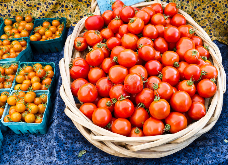 Tomatoes in a basket ready for sale