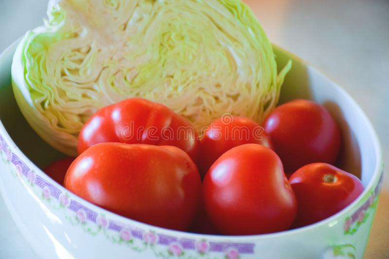 Tomatoes, cabbage. stock photo