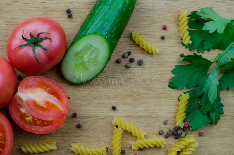 tomatoes cucumbers vermicelli stock photo