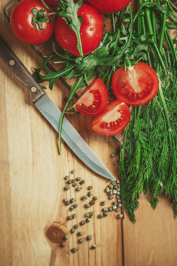 Tomatoes and dill royalty free stock photography