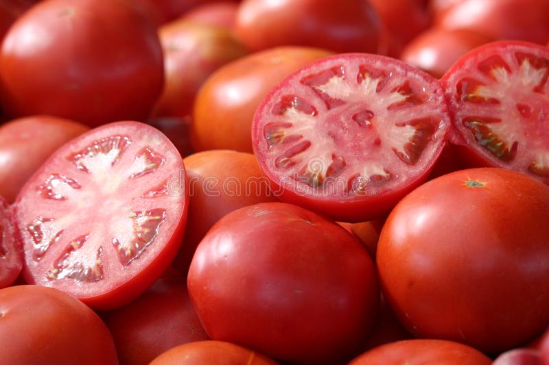 Tomatoes of extraordinary beautiful color and delicious taste. Tomate rojo stock photo