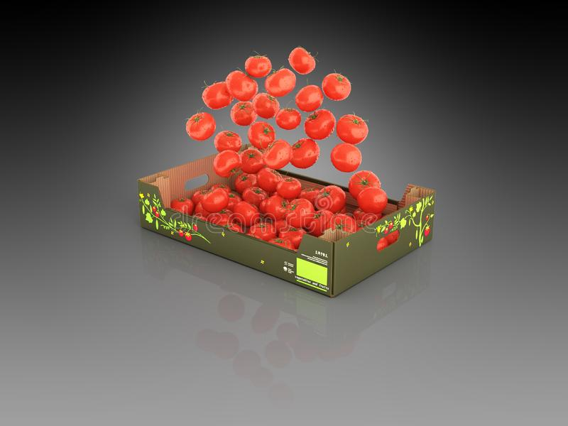 Tomatoes fall into the box on black gradient background with reflection 3d stock illustration