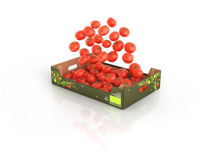 Tomatoes fall into the box isolated on white background with reflection 3d vector illustration