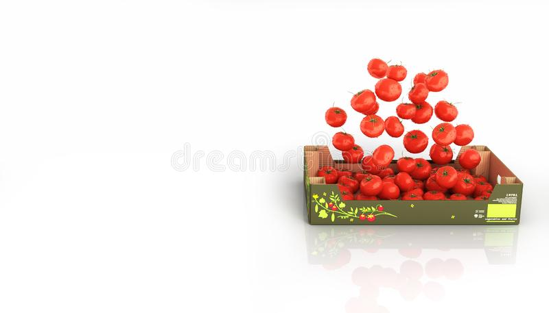 Tomatoes fall into the box isolated on white background with reflection and place for text 3d royalty free illustration