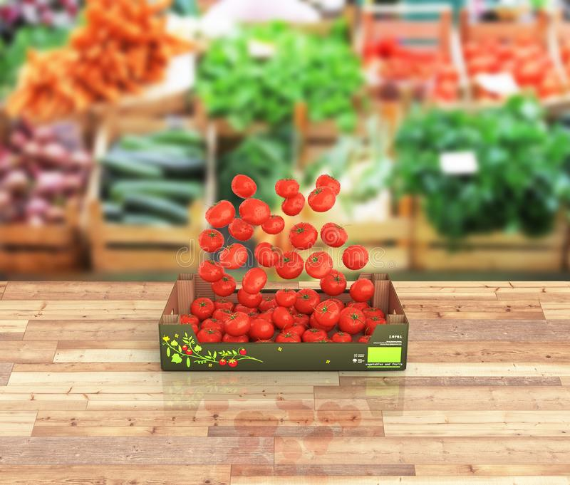 Tomatoes fall into the box on market background with reflection 3d. Tomatoes fall into the box on market background with reflection vector illustration