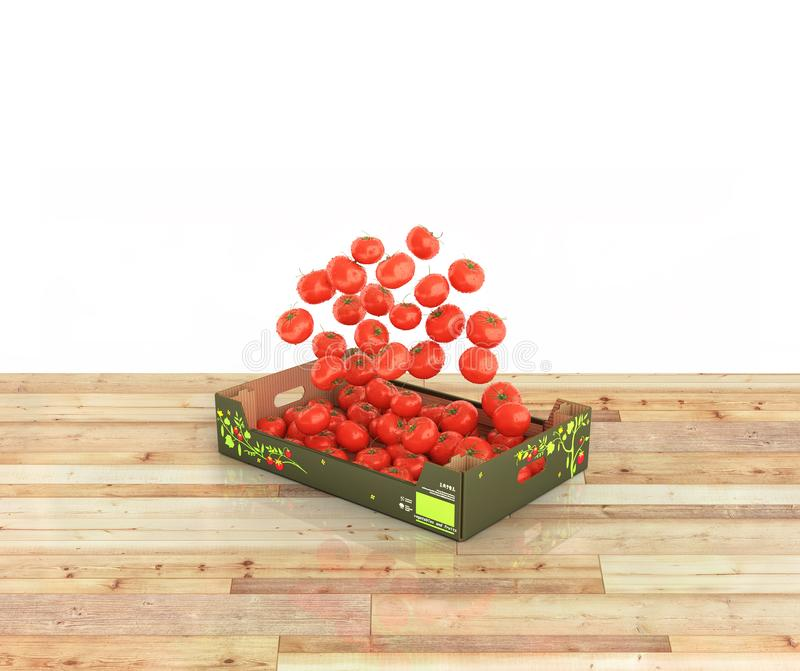 Tomatoes fall into the box on wood floor and white background with reflection 3d vector illustration
