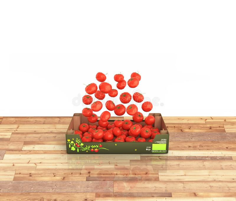Tomatoes fall into the box on wood floor on white background with reflection 3d vector illustration
