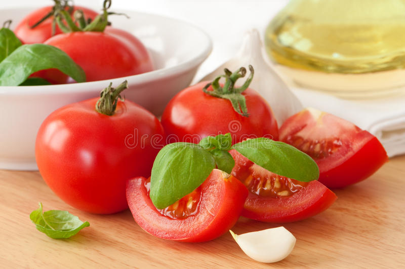 Tomatoes & Garlic stock photo