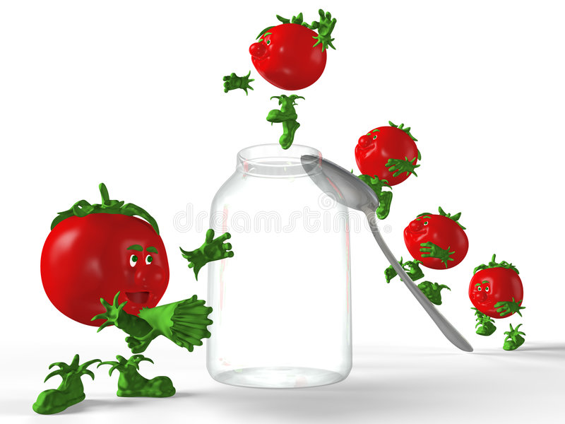 Download Tomatoes Jumping To The Jar. Stock Illustration - Image: 4634493