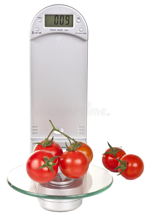 Free Tomatoes On Electronic Kitchen Scales Royalty Free Stock Photography - 23770837