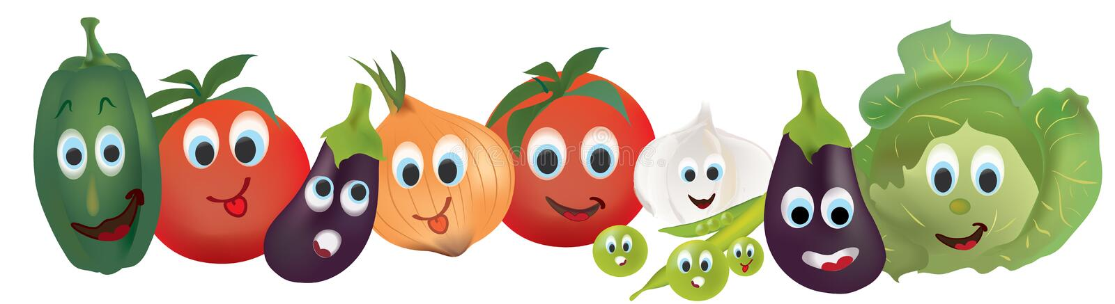Tomatoes, Peppers, Cabbage, Eggplant, Onion, Garlic and Beans Characters with Facial Expressions vector illustration