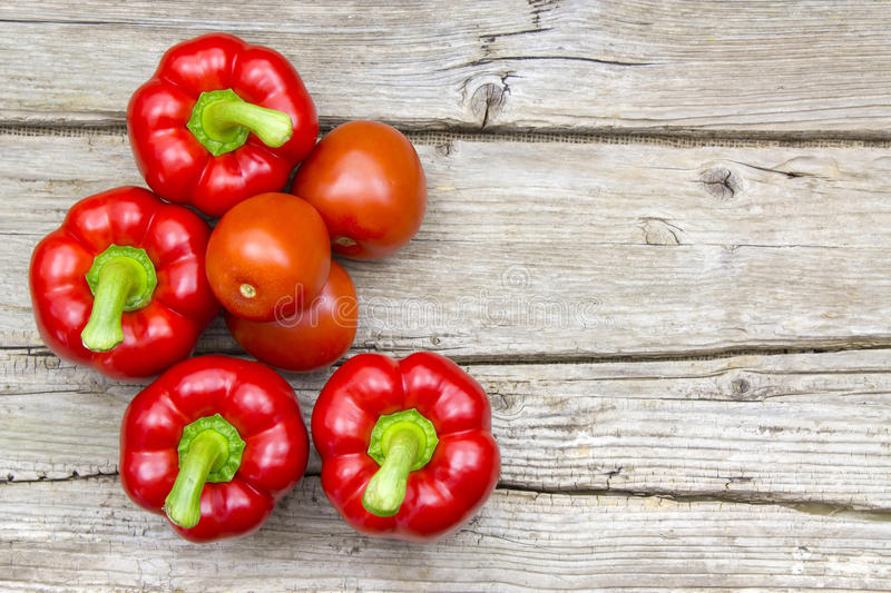 Tomatoes and peppers royalty free stock photo