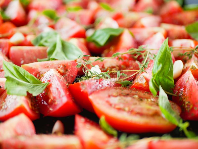 Tomatoes with provencal herbs, basil, thyme, and garlic. Vegetarian ratatouille from eggplants, zucchini, tomatoes and bell pepper. Sauce and tomato with herbs royalty free stock photo