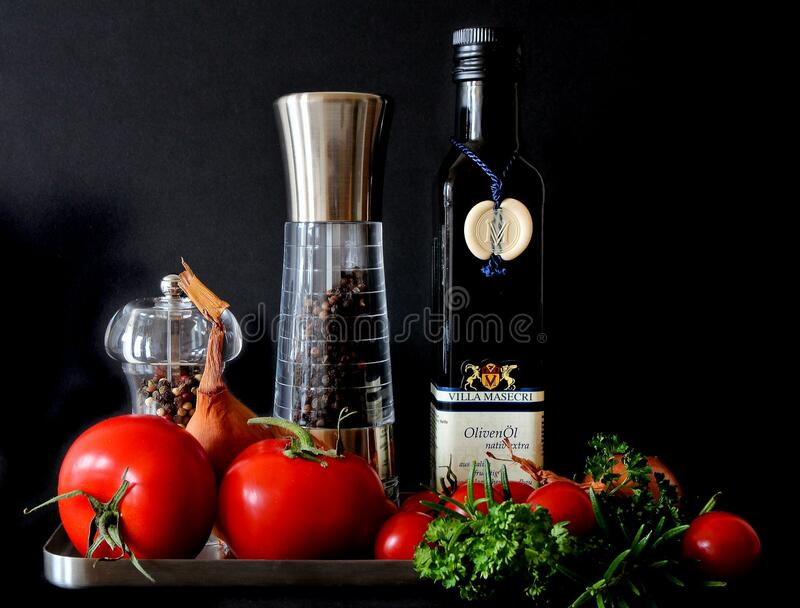 Tomatoes Beside Shakers And Olive Oil Bottle Free Public Domain Cc0 Image