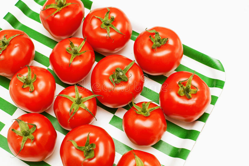 Tomatoes On Striped Tray Stock Photo