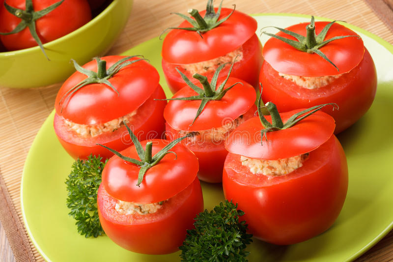 Download Tomatoes stuffed stock photo. Image of cream, spring - 32954546