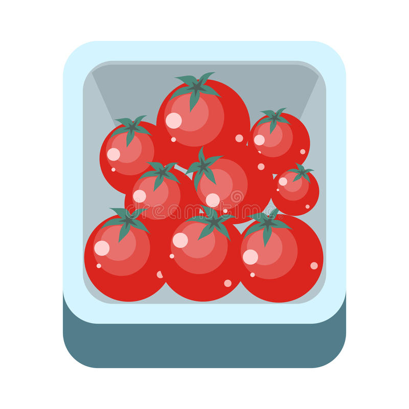 Tomatoes in Tray Flat Design Illustration. Tomatoes in tray vector in flat style design. Grocery store assortment, foods for diet, fresh fruits concept royalty free illustration