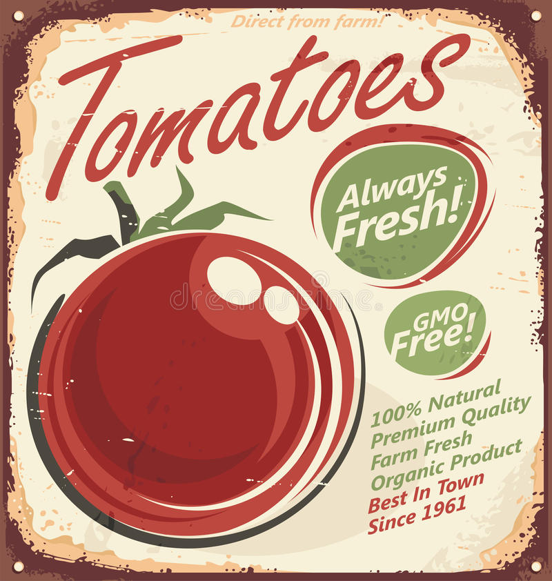 Tomatoes vintage metal sign royalty free illustration
