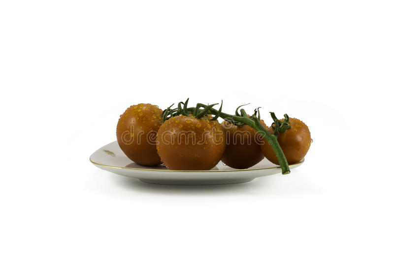Tomatoes on white background stock photography