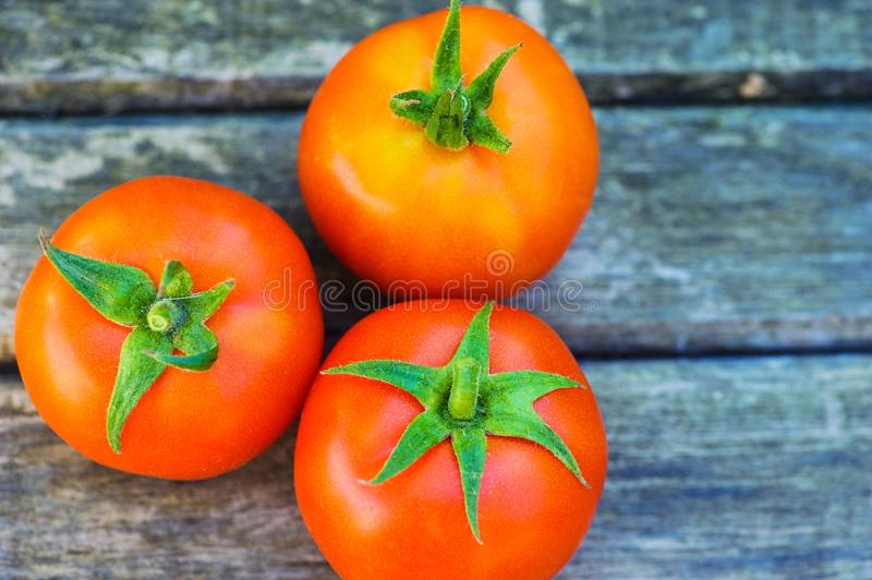 tomatoes on a wooden table stock images