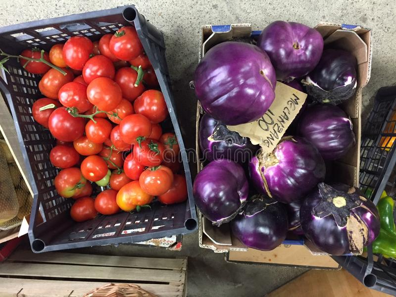 Tomatos and melanzanes vegetables royalty free stock images